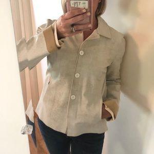 Rozea Nichols Leather Shirt Jacket in Bone